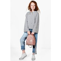 Distressed Hooded Sweat Top - grey