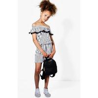 Stripe Bardot Playsuit - multi