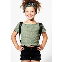 Rouched Crop Top - khaki