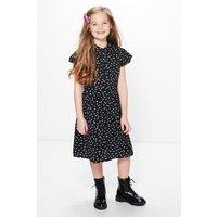 Polka Dot Shirt Dress - black