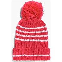 Knitted Pom Pom Hat - raspberry