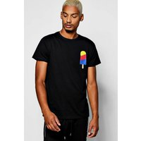 Crew Neck T-Shirt With Ice Cream Print - black