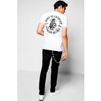 Back Print Sons Of Anarchy T-Shirt - white