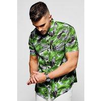 Leaf Print Short Sleeve Shirt - green
