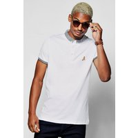 Polo With Jaquard Collar - white
