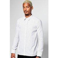 Dot Print Longsleeve Shirt - white