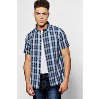 Check Short Sleeve Shirt - blue