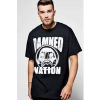 Damned Nation Skull Print T Shirt - black