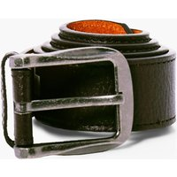 PU Belt With Burnished Buckle - brown