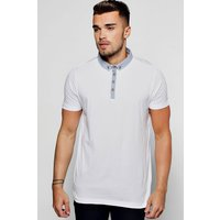 Button Down Collar Jersey Polo - white