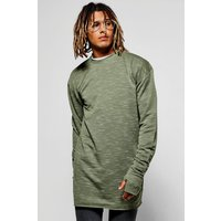 Sweatshirt With Thumb Holes - khaki