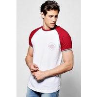 Ringer Print T Shirt - white
