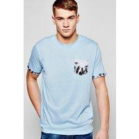 Print Pocket T Shirt - sky
