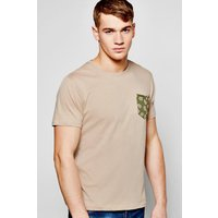 Pocket Print T Shirt - taupe