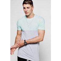 Muscle Fit Half And Half T-Shirt - aqua