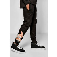 Fit Dragon Print Joggers - black