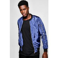 Bomber With Back Print - navy