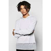 Knitted Jumper with Jersey Insert - grey