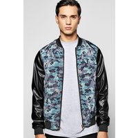Bomber With PU Sleeves - navy
