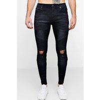 Black Biker Detail Skinny Fit Jeans - black