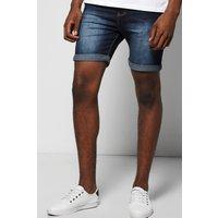Fit Indigo Wash Denim Shorts in Mid Length - indigo
