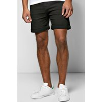 Fit Black Denim Shorts in Short Length - black