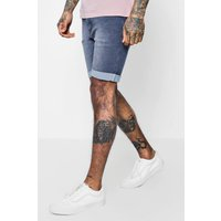 Fit Washed Denim Shorts - charcoal