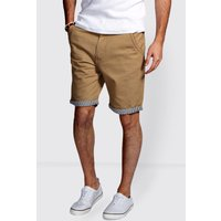 Shorts with Stripe Turn Ups - stone