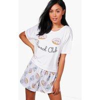 Brunch Club T-Shirt & Short Set - white
