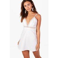 Tilly Trim Detail Skater Dress - white