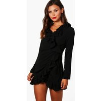 Becca Wrap Front Frill Woven Dress - black