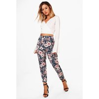 Tara Floral Print Woven Tapered Trouser - multi