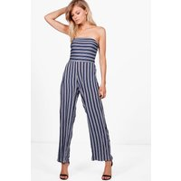 Abi Stripe Wide Leg Strapless Jumpsuit - navy