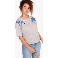 Jackie Applique Embroidery Sweat Top - grey