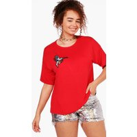 Lisa Badge Front Tee - red