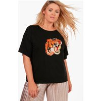 Karina Embroidered Tiger Sweat T-Shirt - black