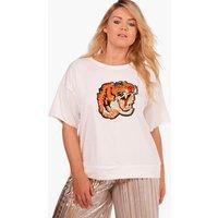 Karina Embroidered Tiger Sweat T-Shirt - ivory