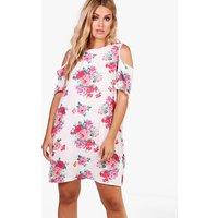 Julia Floral Open Shoulder Shift Dress - multi