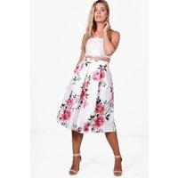 Nina Large Floral Box Pleat Skater Skirt - multi
