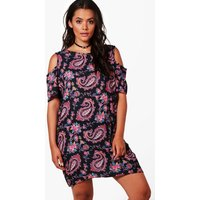 Julia Paisley Printed Open Shoulder Shift Dress - multi