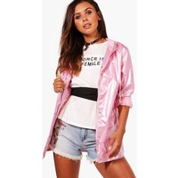 Sarah Metallic Rain Coat - pink