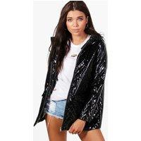Hayley Metallic Quilted Rain Coat - black
