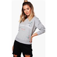 Lily Oversized Printed Sweat Top - grey