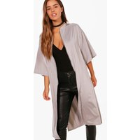 Evie Zip Front Oversized Duster Jacket - silver