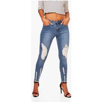 Charlotte Rip and Sequin Detail Skinny Jean - blue