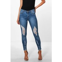 Aleena Rip Detail Fray Hem Skinny Jean - blue