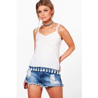 Hayley Tassle Trim Cheesecloth Top - white
