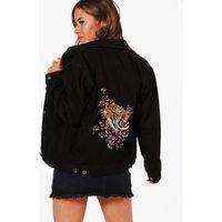 Janice Embroidered Tiger Jacket - black