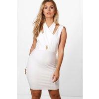 Emily Halterneck Strap Detail Bodycon Dress - white