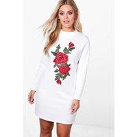 Tia Floral Embroidered Applique Bodycon Dress - white